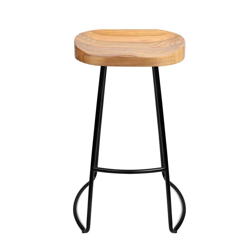 Leisure Creative Solid Wood Seat Bar Stool Simple Style Household Multi-function Dining Chair Coffee Shop Stable Iron High Stool