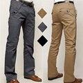 Mens Casual Flaco Lápiz Pantalones de Vestir Caliente Nuevo Estilo Masculino de Pierna Recta Delgada Botón Decoración Ocio Pantalones Militares Más tamaño