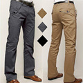 Mens Casual Skinny Pencil Dress Pants Hot New Stylish Male Slim Straight-Leg Button Decor Leisure Military Trousers Plus Size