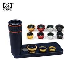 APEXEL 12X Zoom Telephoto Telescope Lens with Wide Angle & Macro Fisheye Fish eye Lens for iPhone SE 5/5s 12X85