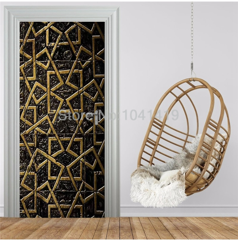 Modern Creative Black Gold Line Geometric Door Sticker 3D Stereo PVC Self-Adhesive Decor