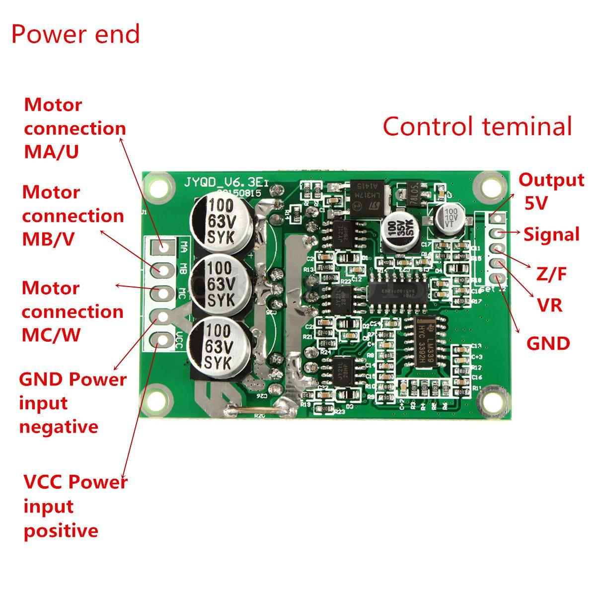 DC 12V 24V 36V 500W Brushless Motor Drive Board Balanced Car BLDC Controller