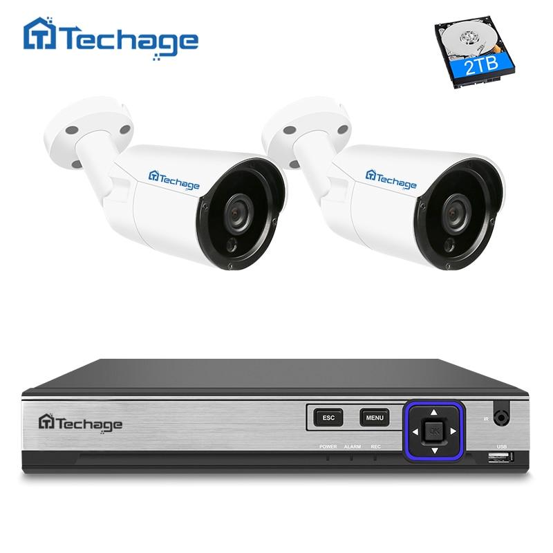 Techage 4CH 4MP NVR H.265 POE CCTV Système 2 PCS 4MP IP Caméra IR Nuit Vision Onvif Extérieure Vidéo Surveillance de Sécurité système