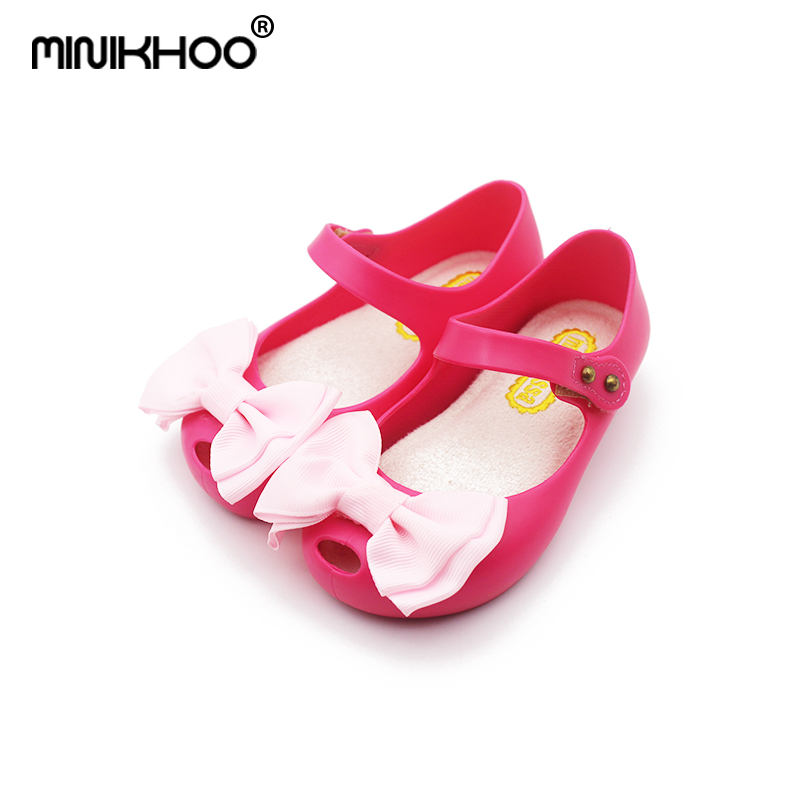 Mini Melissa 2018 New Cloth Bow Jelly Sandals For Girls Children Summer Sandals Jelly Sandals PVC Baby Shoes Beach Sandals