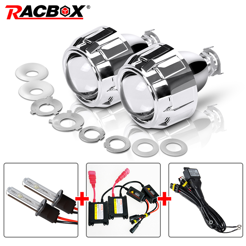 RACBOX 35 Вт 2,5 дюймов LHD RHD Bixenon спрятал объектив проектора с кожухами H1 H4 H7 мотоциклетные авто фар комплект 4300 К 6000 К 8000 К