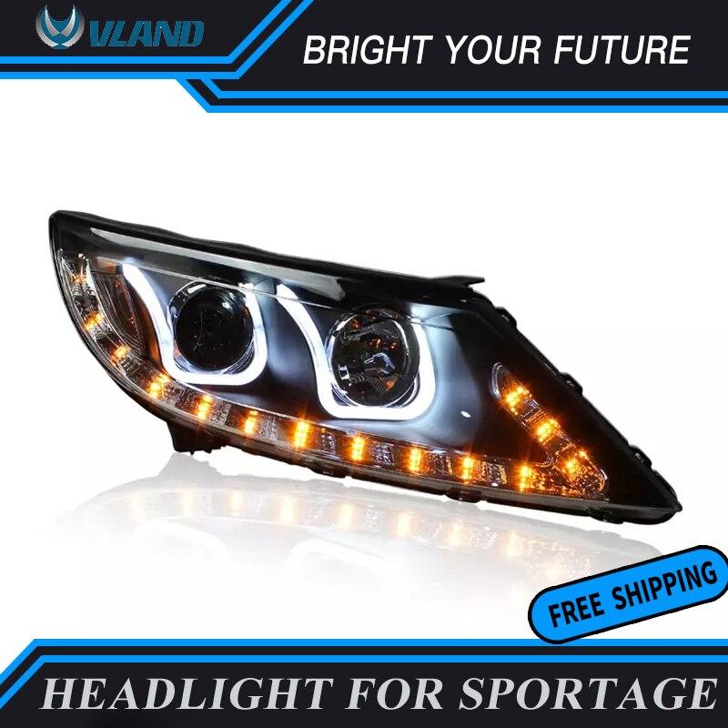 Auto Head Lamp for r Kia Sportage R 2011 2014 LED Headlights Angel Eyes Lens Headlamp Double U Sharp Bi xenon Projector