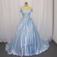 Ice Blue Wedding Dress Vintage Flowers Pearls Lace China Bridal Gowns Satin Wedding Gown Turkey African Plus Size Abiti Da Sposa