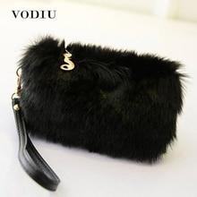 Women Handbags Fur Clutch Female Tote Wristlet Party Bags Fashion Zipper Phone Bag Purses Small Black High Quality Women Handbag