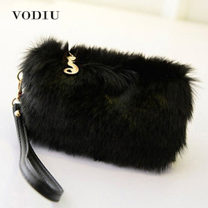 Women Handbags Fur Clutch Female Tote Wr