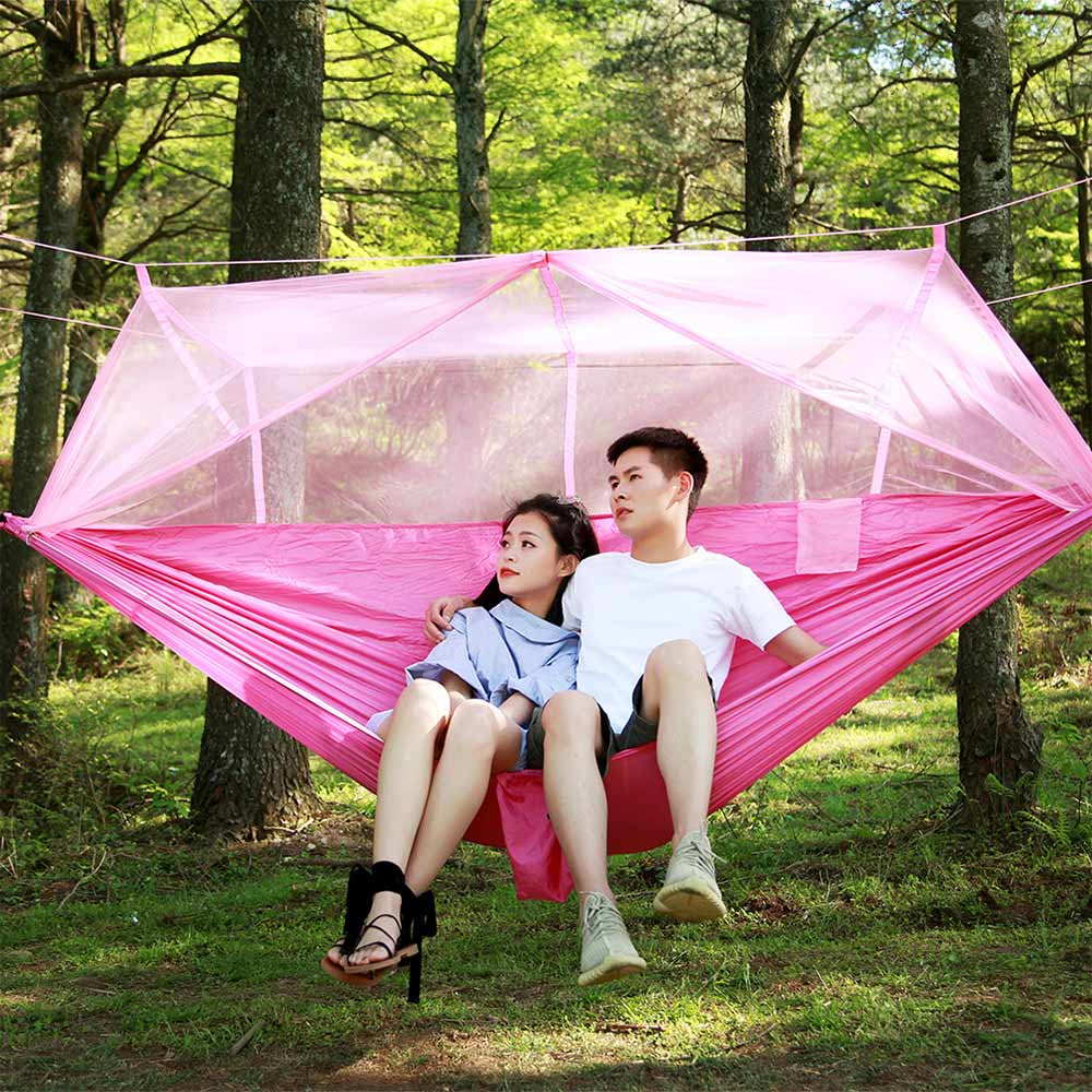 280x150cm Portable Hammock Oversized Single-person Folded Into The Pouch Mosquito Net Hammock Hanging Bed For Travel Kits Campin hammock mosquito net wholesale hammock single hamock