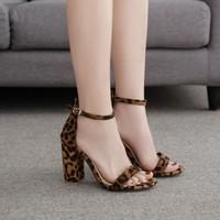 Women Summer Sexy Leopard Print Shoes Print With Thick Heel Suede Openwork Sandals High Heels Black Brown African Nude Nigerian
