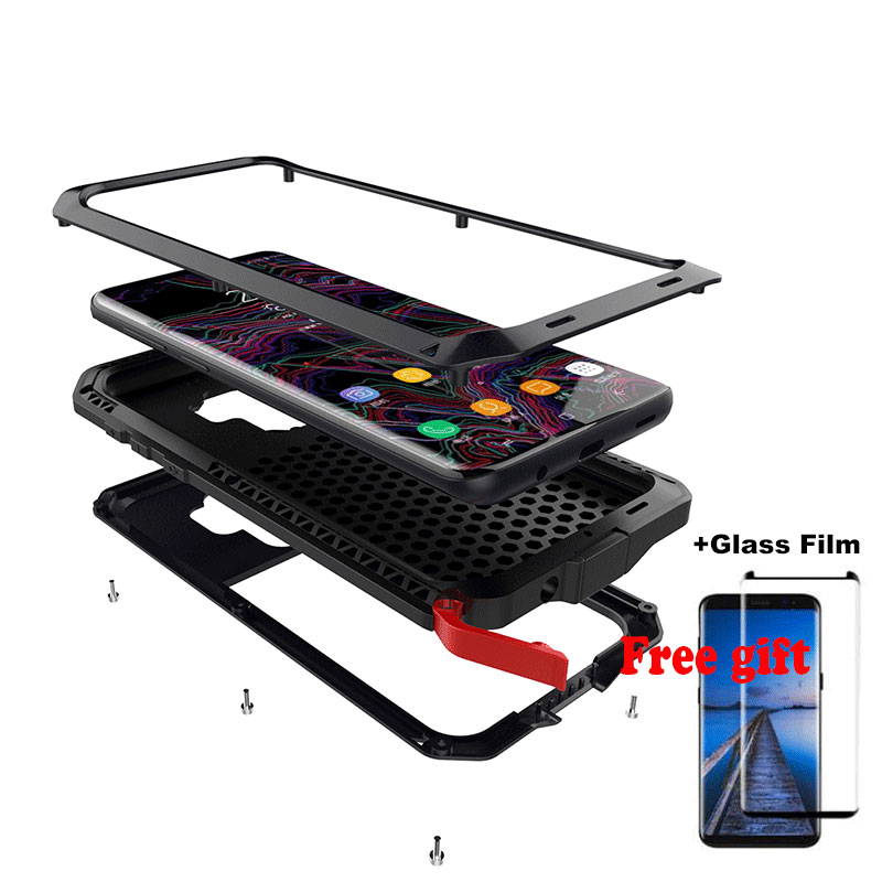 Glass Film+ Full Protective luxury doom armor Case Metal Case Shockproof Cover For Samsung S8 S8Plus S9 S9Plus Note 8 case
