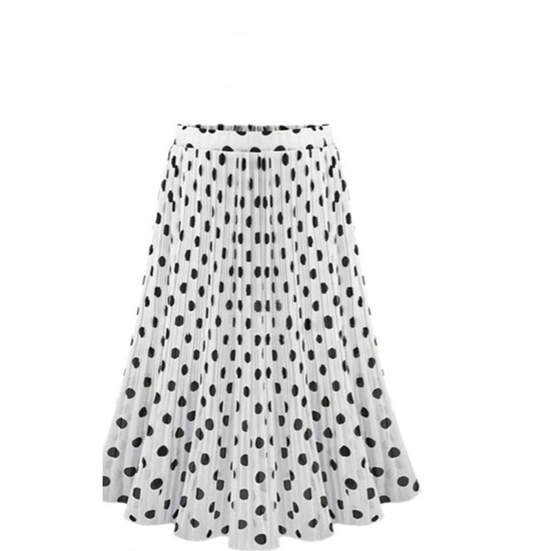 Image 5 - 4XL 5XL Plus Size Pleated Chiffon Skirt For Woman 2019 Summer Elastic Waist Polka Dot Print Beach Skirts Femme Saia Midi-in Skirts from Women's Clothing