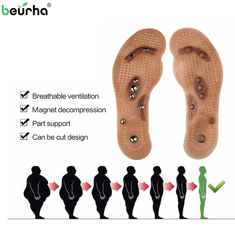 Health Massageador 1 pair Magnetic Foot Massager Insole Foot Acupuncture Point Therapy Insole Body Detox Slimming Magnet Insole