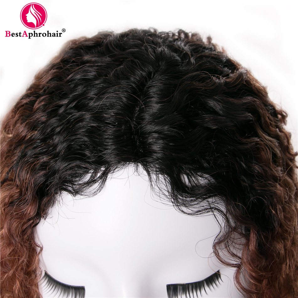 Aphro Hair 150% Density Afro Kinky Curly U Part Wig 18inch Ombre Burmese Human Hair Wig 1b 27 Ombre Remy Lace Wigs For Women