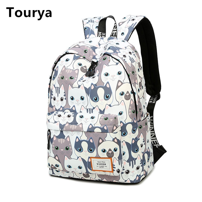 Toury Trend Women Backpack Preppy Style School Bags Back Pack Large Capacity Cute Cat Printing Teenagers Girls Knapsack Mochila
