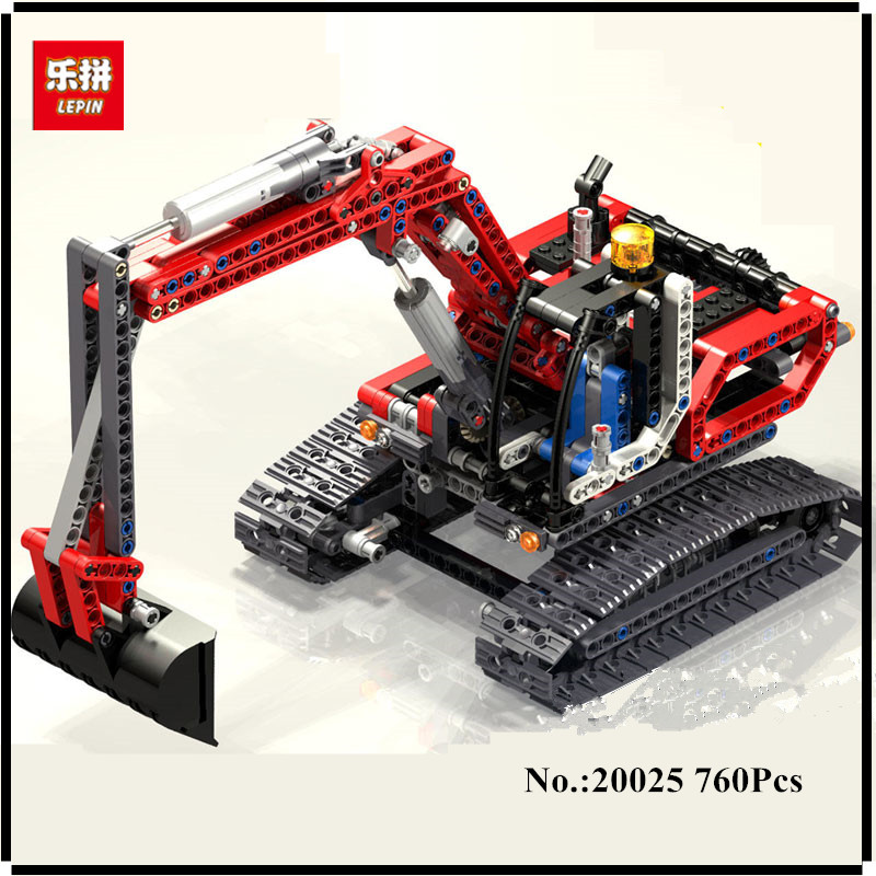 IN STOCK Lepin 20025 760Pcs Genuine Technic Series The Red Excavator Set Children Building Blocks Bricks Boys Educational Toys lepin 20025 760pcs technic series red excavator building blocks bricks toys for children gift