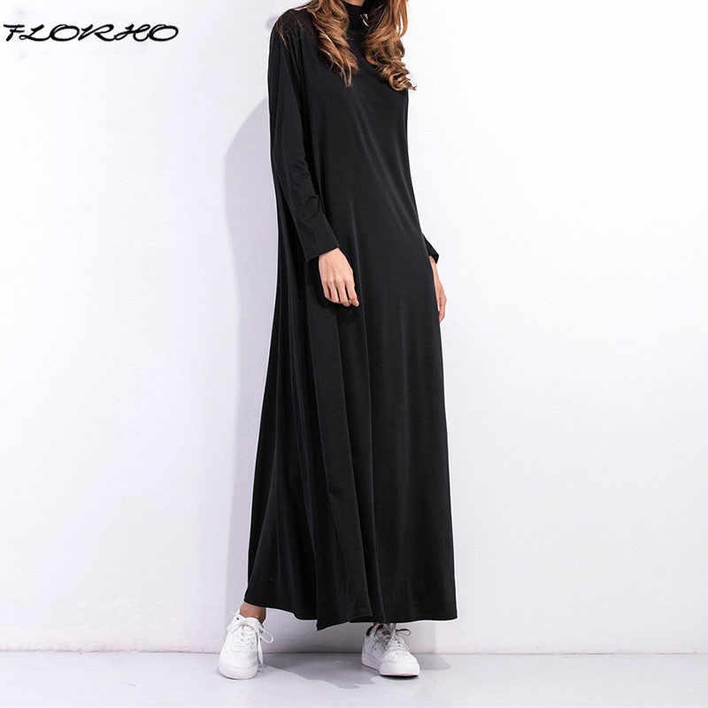 2018 для беременных Для женщин Ovei Размеры d Макси длинное платье  Водолазка с длинным рукавом Однотонная 1048285bb90