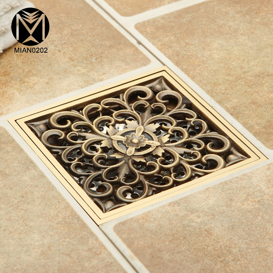 Smart Floor Waste Us 45 29 Yanksmart Antique Brass Brushed Floor Drain Bathroom Kitchen Shower Roon Porch Square Floor Waste Drain Grate Sanitary In Drains From Home