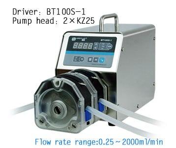 BT100S-1  2X KZ25 Lab Industrial Medical Variable Speed Flow Peristaltic Pump Water Dosing Pumps Fluid  0.25 ~ 1500 (ml / min) peristaltic plus s с 1 мес 2 шт