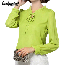 Geckoistail 2017 Autumn Women Chiffon Blouse Long Sleeve Plus Size Bow Tie Shirt Casual Ladies Office Shirts Work Wear Top Femme