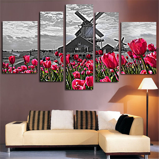 Holland Windmill Tulip Landscape Modern Canvas Painting 5 Pieces - Cuadros-decoracion