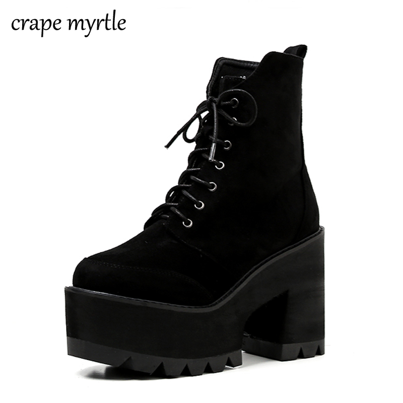 punk boots women fall shoes platform boots High Heel winter shoes motorcycle lace up Boots snow shoes women botas mujer YMA566
