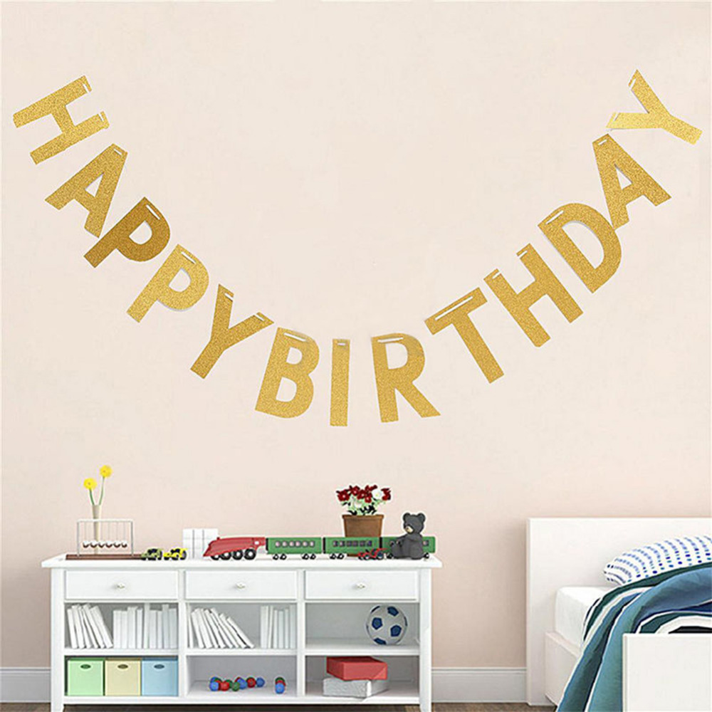 Glitter Paper Birthday Party Hanging Bunting Banner Flag: Personalized Hanging Glitter Gold Paper Letter Number