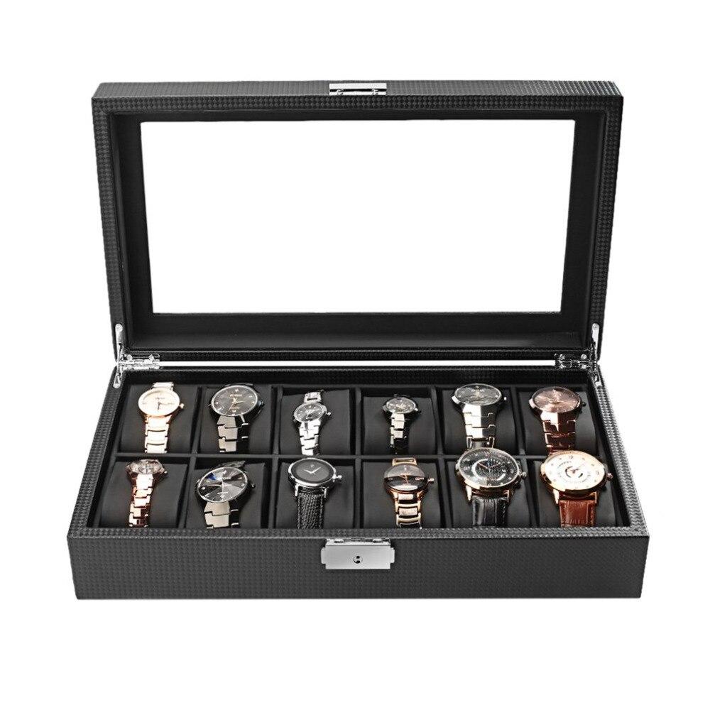 купить Carbon Fiber High-Grade 12 Slots Display Design Jewelry Display Watch Box Storage Black Watch Holder Case по цене 2972.85 рублей