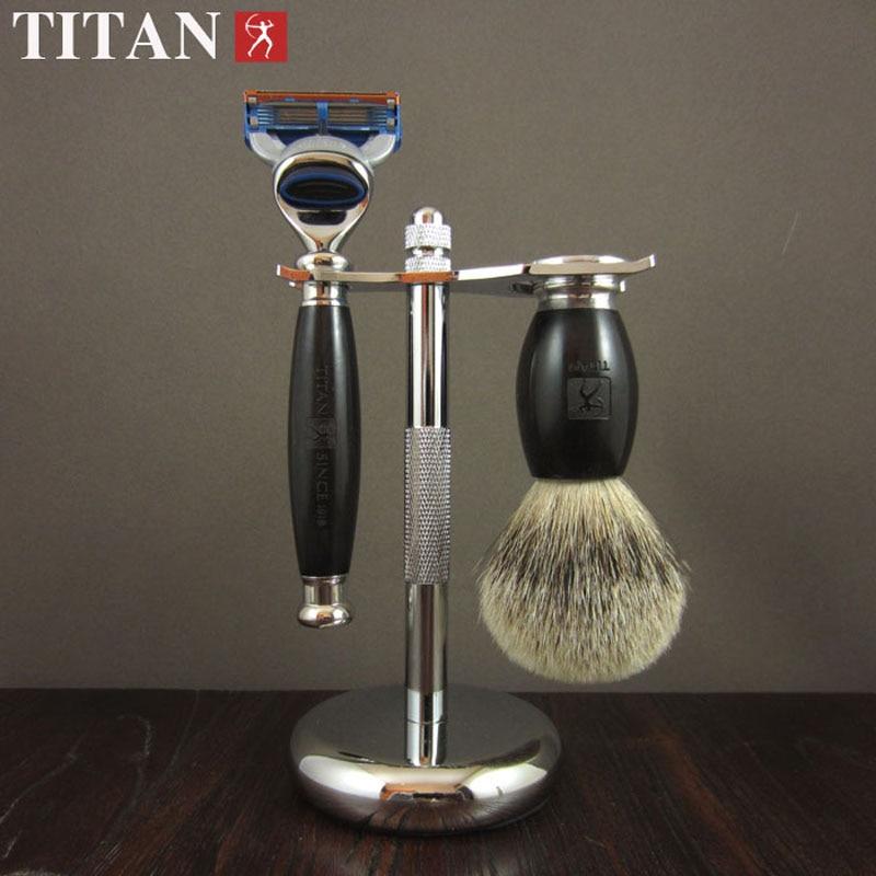 Titan mænd barbering baber 5 blade razor sæt i træ håndtag - Barbering og hårfjerning - Foto 5
