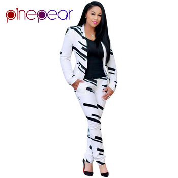 FLODISS Fashion White and Black Pant Suits 2017 Autumn Winter Women Office Business Formal Party 2 Pieces Set photo shoot