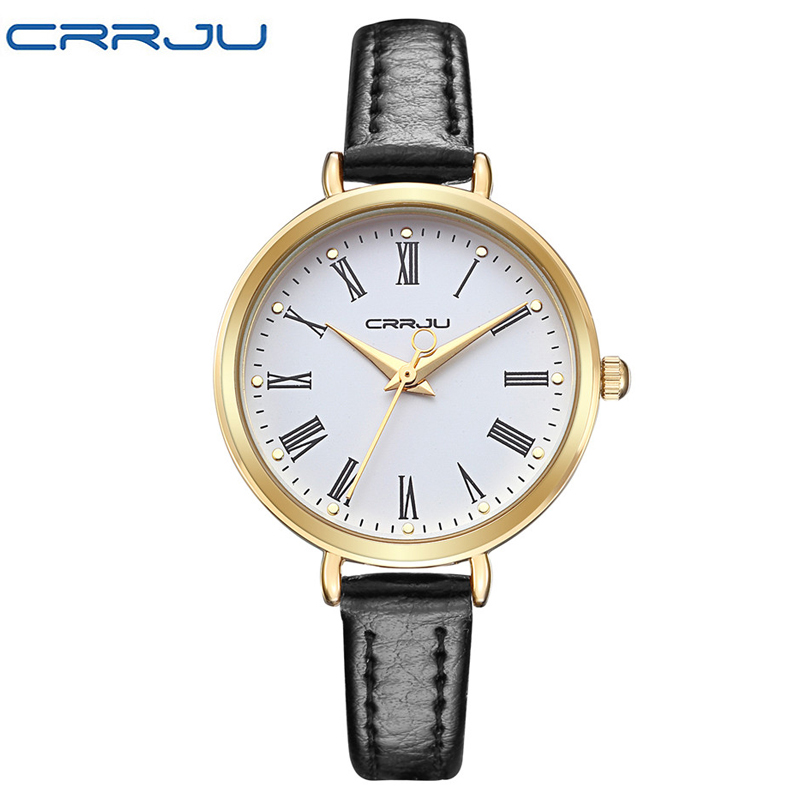 New CRRJU Brand Luxury Vintage Small Rome Dial Genuine ...