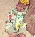 SR096 2017 Meninos e meninas do bebê Casuais Siamese romper do bebê Verão de Algodão flor Selo Dupla Relâmpago Subida Vestuário roupa do bebê