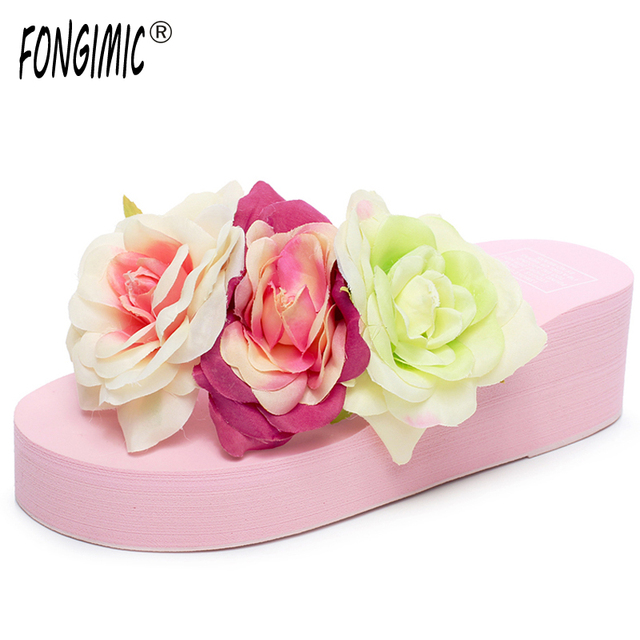1a54203f0 Sale Top Summer Women Sandals Beach Women Slippers Shoes With Thick Wedges  Handmade Flower Women Classic Non Slip Flip Flops