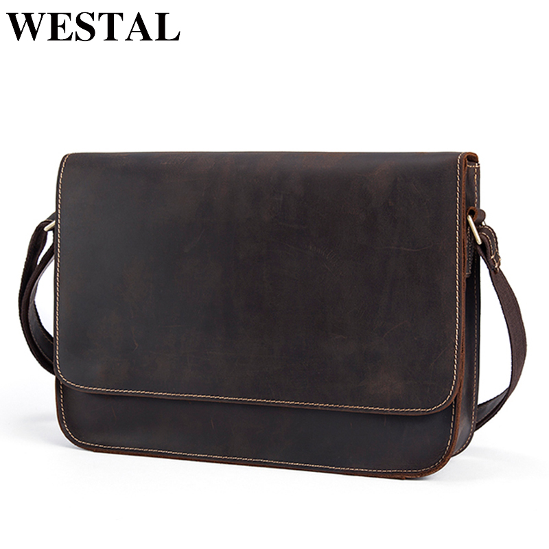 WESTAL Messenger Bag Men's Shoulder Bag Genuine Leather Casual Male man briefcases laptop Crossbody bags for Men handbags 9022 цена
