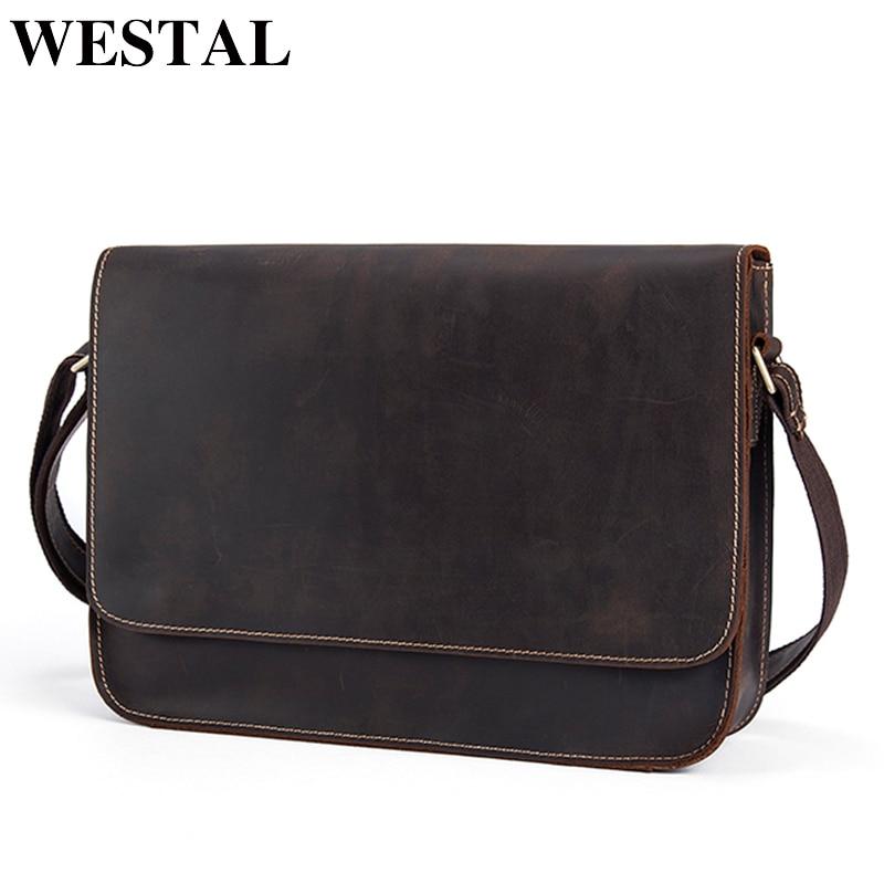 WESTAL Messenger Bag Men's Shoulder Bag Genuine Leather Casual Male man briefcases laptop Crossbody bags for Men handbags 9022