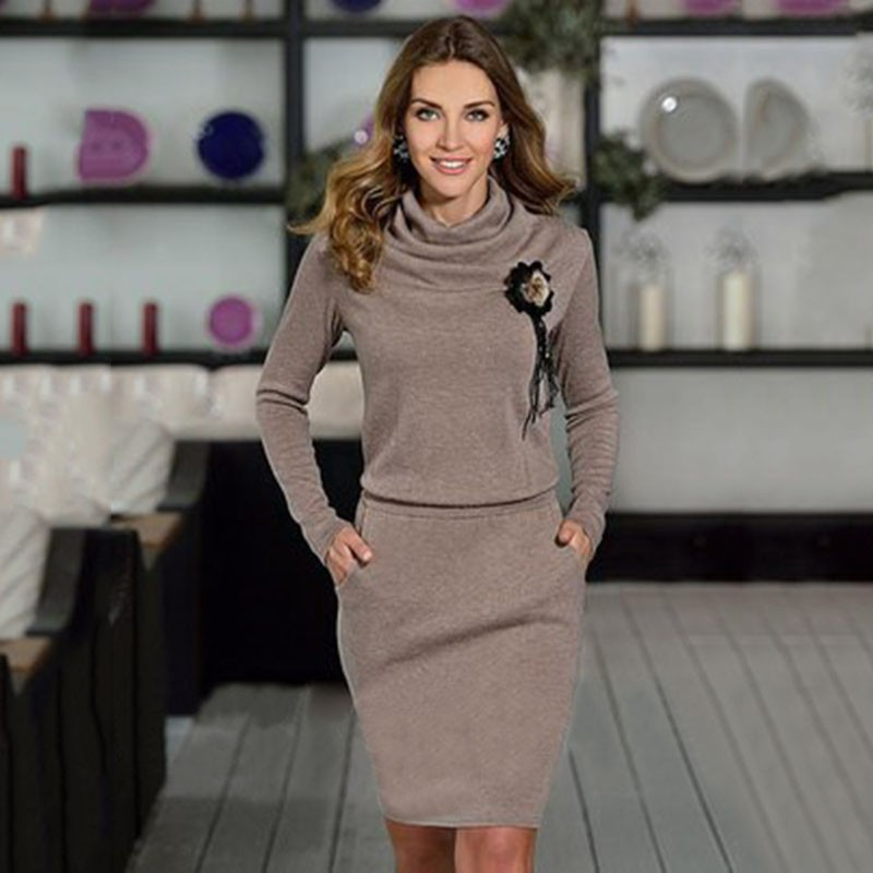 da3303e8f0cc1 Aliexpress.com : Buy Women dress casual robe femme 2018 fashion dress Long  sleeve sexy Women's Clothing winter dress from Reliable dress clothing for  men ...