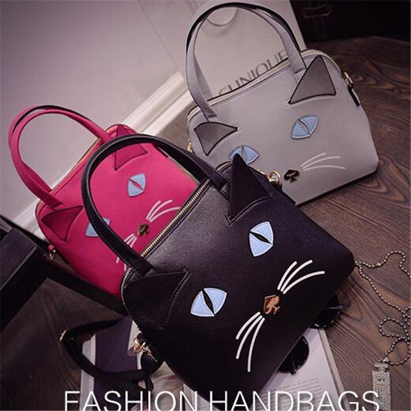 Fashion Hot Korean Cute 3D Cat Bag with Ears New Women font b Handbag b font