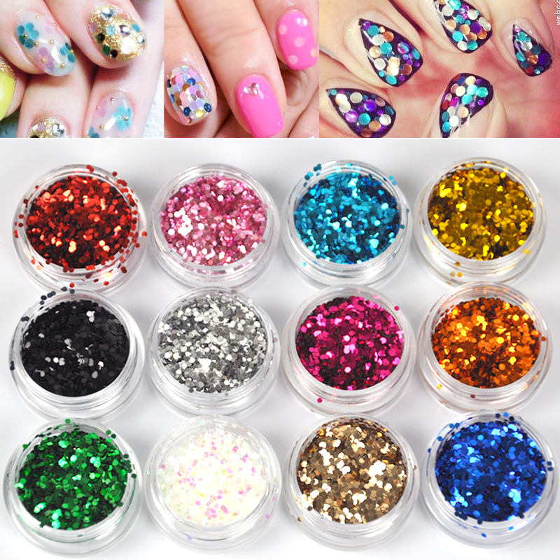 1mm 12pcs set 12 colors acrylic hexagon sparkly sequin for Acrylic nail decoration supplies