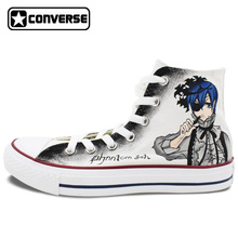 Anime Converse All Star Black Butler Design Hand Painted Shoes High Top Canvas Sneakers Women Men Skateboarding Shoes
