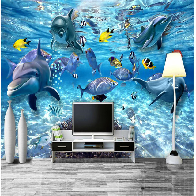 Wall Wallpaper Art Background Photography Dolphin Sea Coral Marine Life Hotel Badroom Mural Custom Painting