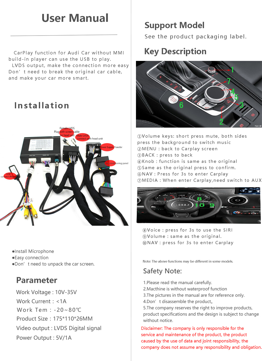 Sinairyu Oem Apple Carplay Android Auto Smart Box A1 Low 58 No Wiring Diagram Don39t Pay Any Attention To The Note On Before You Make Order Please Sure Your Mmi Aux Works Or Notyou Could Check At Media If Notthen Need Our Another Tool 5053