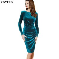 YGYEEG Women Dresses 2018 Autumn Fashion Long Sleeve Gold Velvet Package Hip Dress Knee Length Elegant
