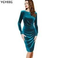 YGYEEG Women Dresses 2018 Autumn Fashion Long Sleeve Gold Velvet Package Hip Dress Knee Length Elegant