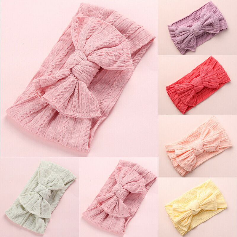 Bow Baby Headband Turban Knotted Baby Hair Accessories For Newborn Toddler Girl Baby  Solid Headwear