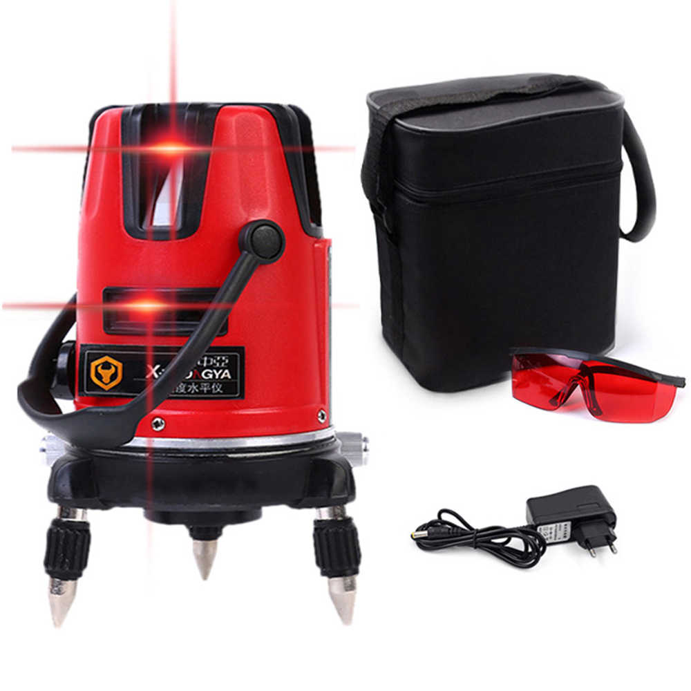 SPY001 5 Lines Red Laser Level Rotary Nivel Laser 360 Autonivelante 6optical 3D Lazer poziomica laserowa For Caconstruction Tool