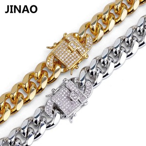 Image 4 - JINAO Gold Cuban Link Chain Necklace Hip Hop Miami Iced Out Cuba Chain with Cubic Zirconia n Jewelry Buckle Best Gift for Men