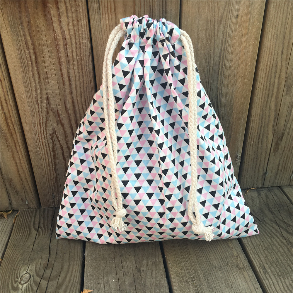 YILE 1pc Cotton Drawstring Pouch Party Gift Bag Sorted Bag Print Mini Triangle 8115dd