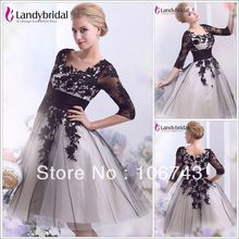 free shipping zuhair murad 2013 Long Sleeve Beach Black Bridal Gown Short plus size Wedding brides maid dresses party gowns