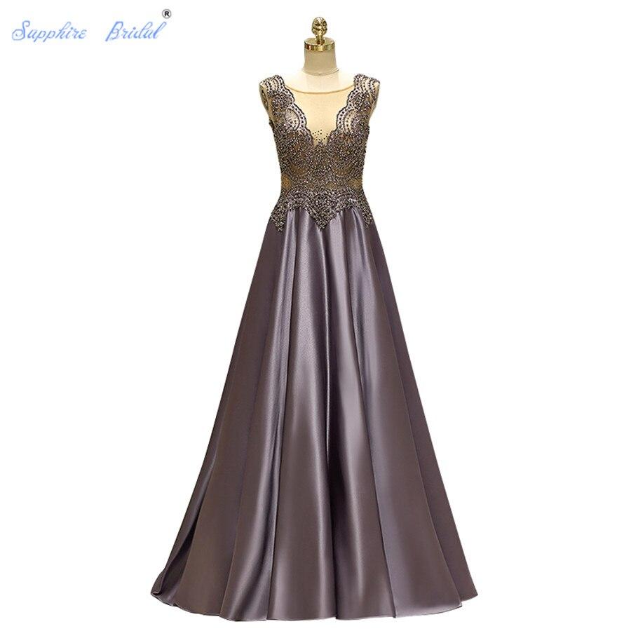Sapphire Bridal A Line Formal   Dress   Vestido De Festa Vintage Grey Satin   Evening     Dresses   Back See Through Back Robe De Soiree